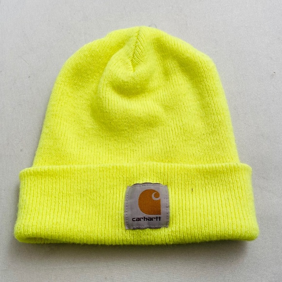 Carhartt neon yellow fold up beanie hat OS